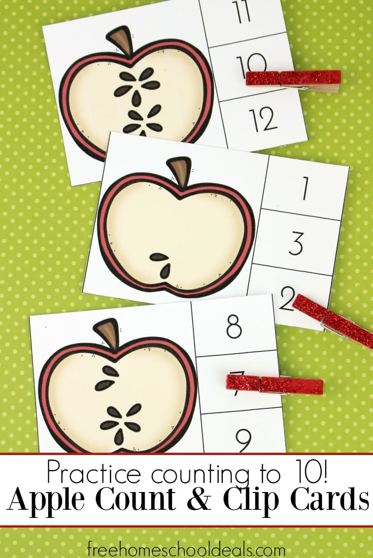 FREE APPLE COUNT AND CLIP CARDS (Instant Download)