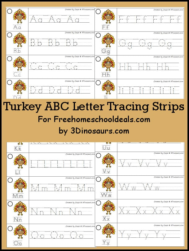 FREE TURKEY ABC TRACING STRIPS (Instant Download)