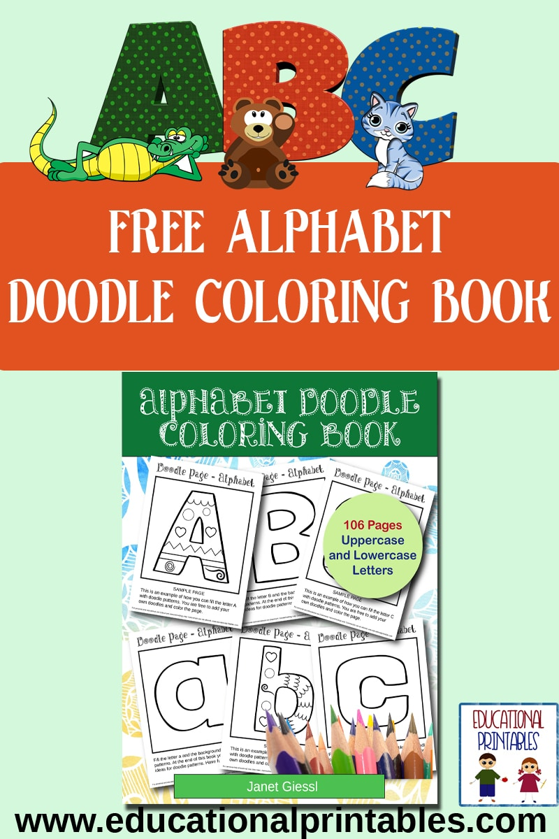 Free Alphabet Doodle Coloring Book