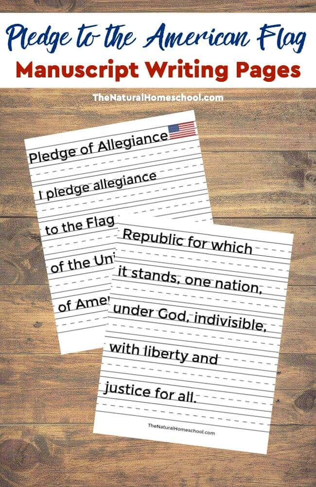 Free Pledge of Allegiance Manuscript Copywork Pages