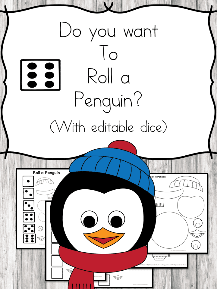 Free Roll-a-Penguin Printables