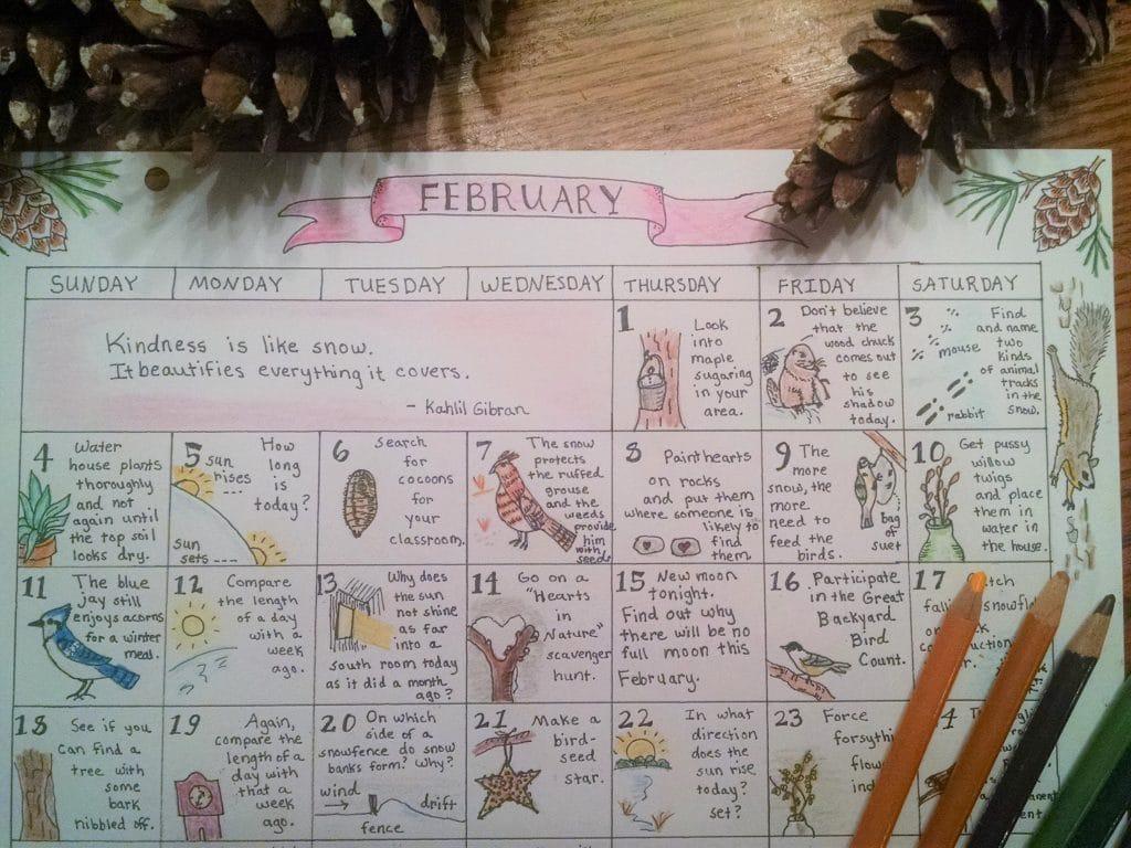 Free February Nature Study Calendar