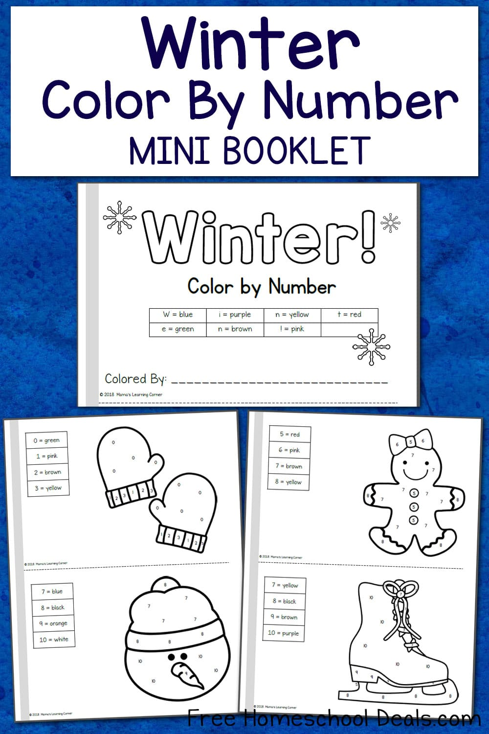 FREE WINTER COLOR BY NUMBER MINI BOOK (Instant Download)