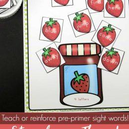 Free Strawberry-Themed Sight Word Sort Printables