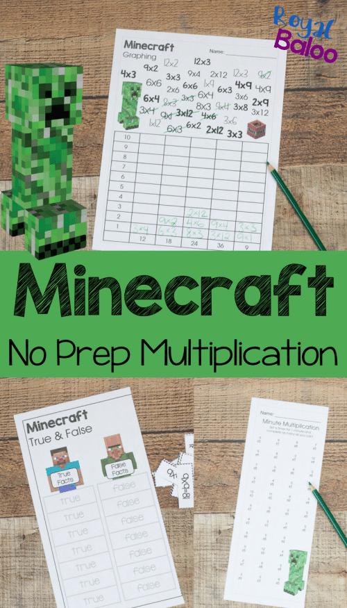 Free Minecraft Multiplication Worksheets