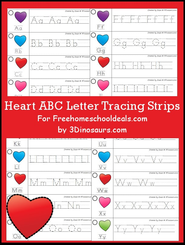FREE HEART ABC TRACING STRIPS (Instant Download)