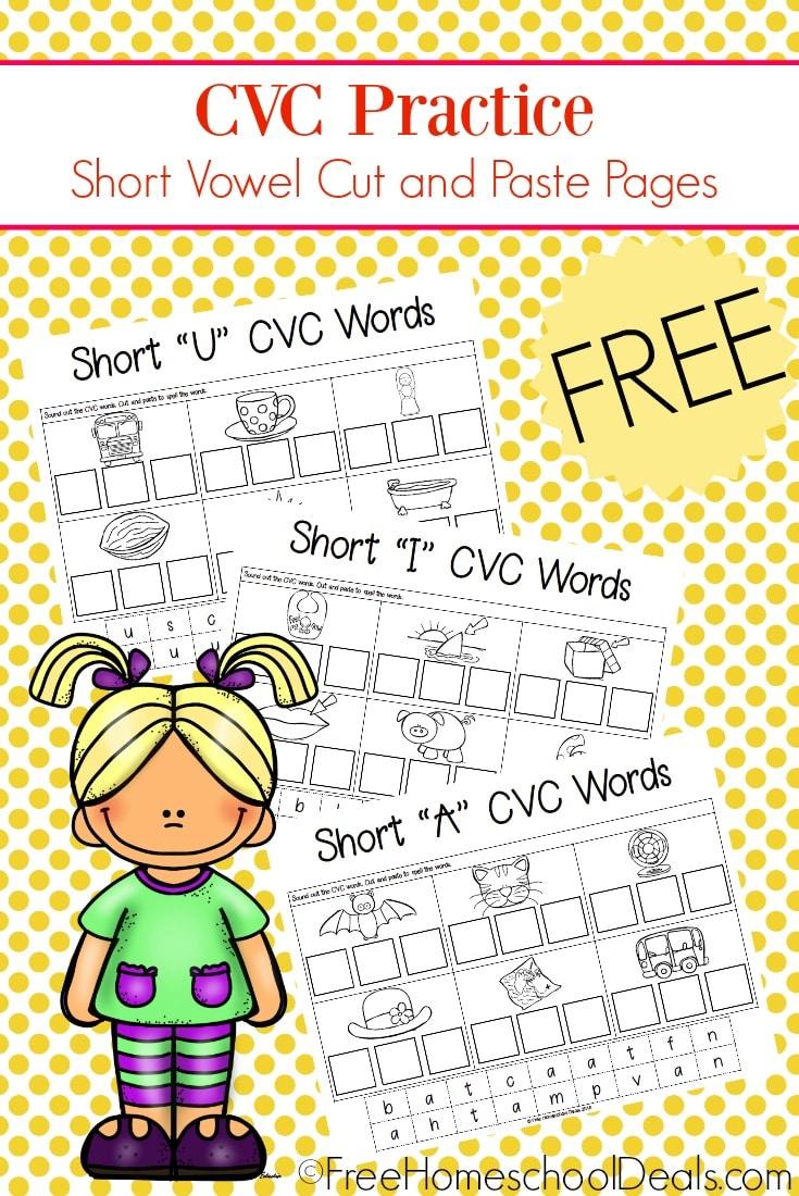 FREE CVC CUT & PASTE WORKSHEETS   Free Homeschool Deals