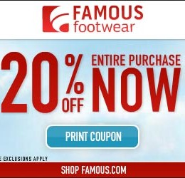 Famous Footwear 20% off Entire Purchase Coupon!