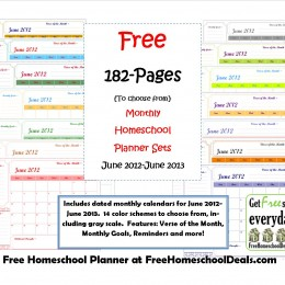 Free Monthly Homeschool Planner Sets (182-Pages!)