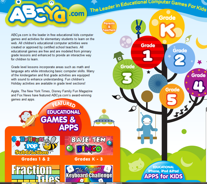 Free Educational Resource Abcyacom Online Learning Games K 5