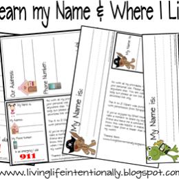 Free Homeschool Printables: Learn My Name & Address