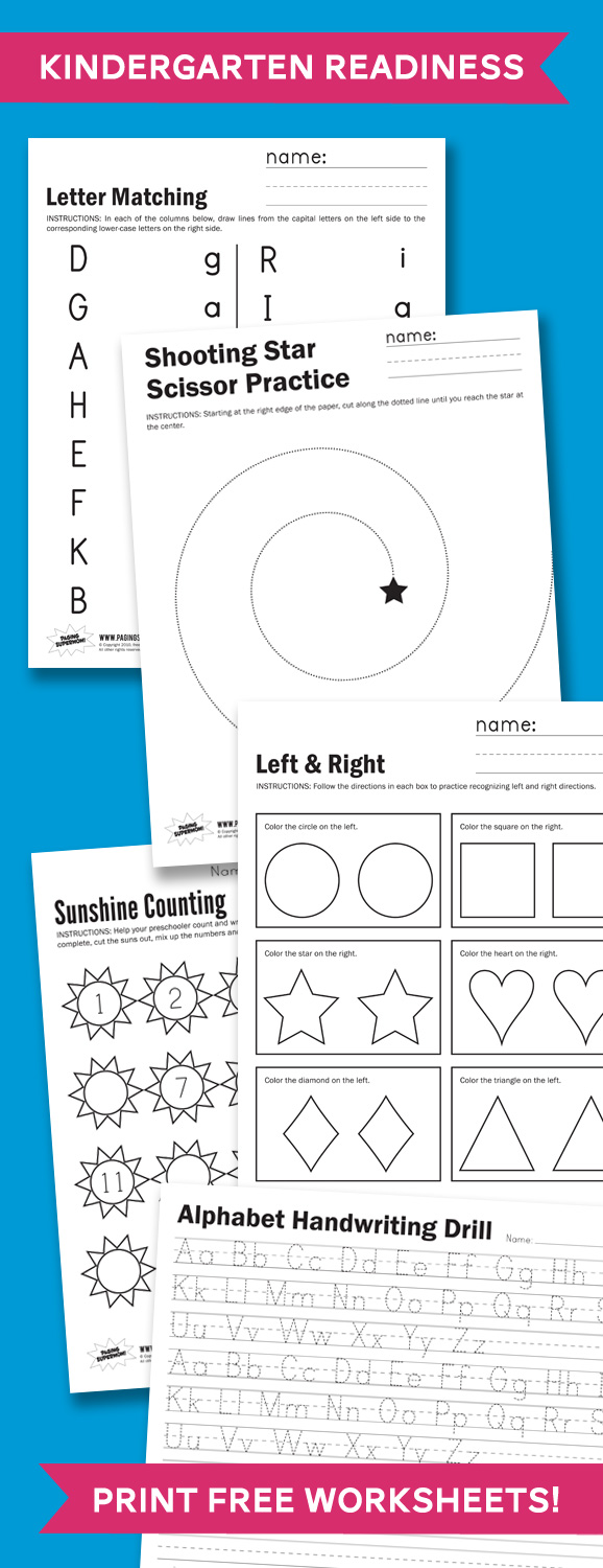 Free Kindergarten Readiness Printables | Free Homeschool ...