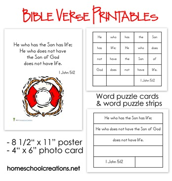 Free Elementary Bible Verse Printables