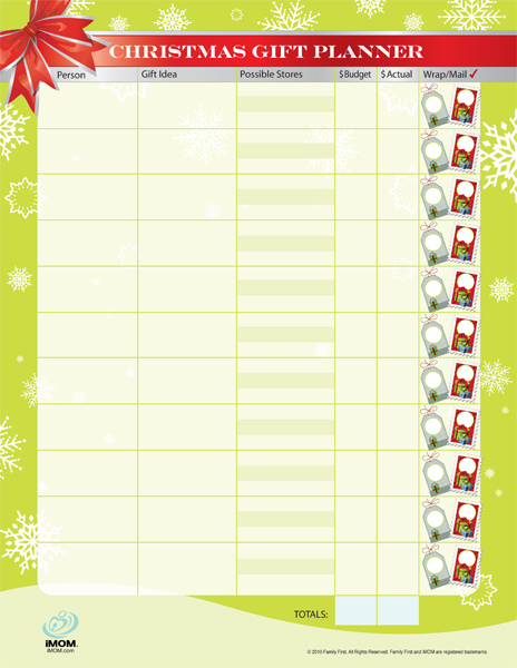free christmas gift planner