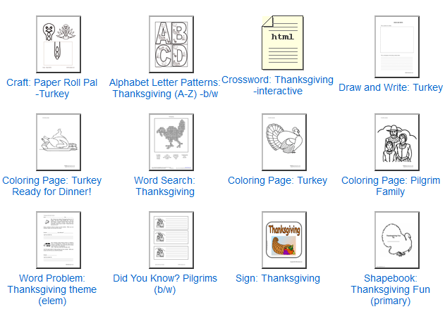 Free Thanksgiving Printables Theme Units And Writing Pages