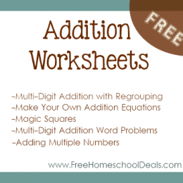 Free Addition Worksheets: Make Your Own Addition Equations, Three-Digit Addition with Regrouping, Commutative Squares