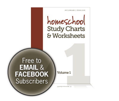 Free Worksheets and Study Charts for Homeschool (Subscriber Freebie)