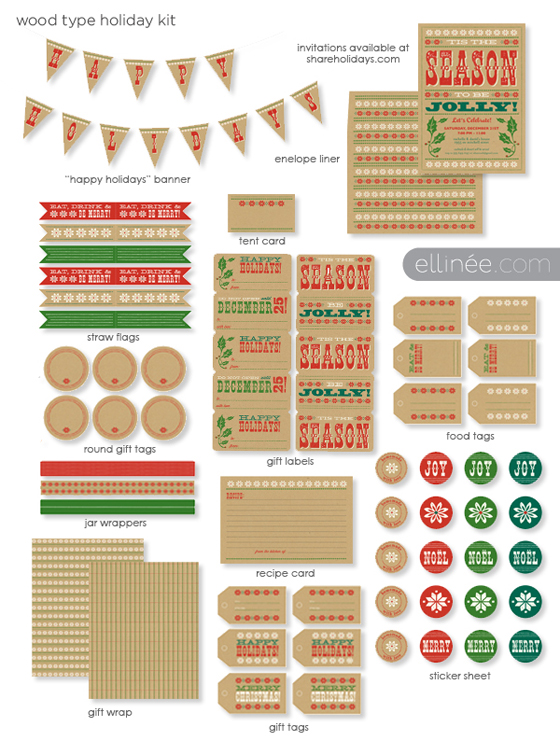 Christmas Freebie: Wood Type Holiday Printable Kit