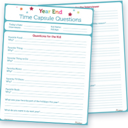 Free Printable End of the Year Time Capsule Questions