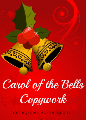 Free Carol of the Bells Cursive Copywork Download