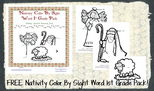 FREE Nativity Color 1st Grade Worksheet Packet