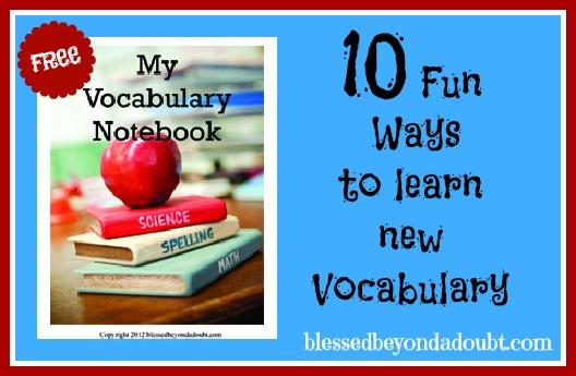 FREE Vocabulary Notebook and Fun Ways to Teach Vocabulary Ideas
