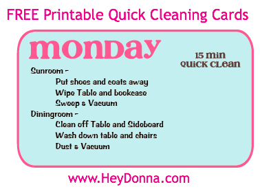 FREE Cleaning Printables: Quick Daily Cleaning Cards