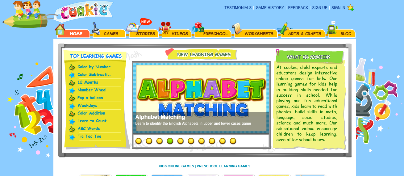 Free Online Kids Learning Games: Cookie.com