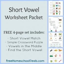Free Short Vowel Worksheets: Short Vowel Match, Simple Crossword Puzzle, Find the Vowel