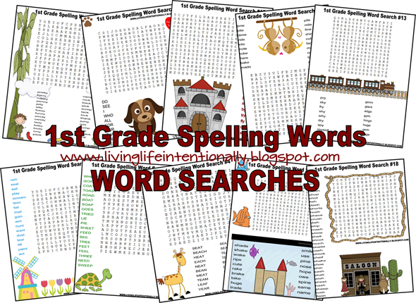 Free 1st Grade Spelling Word Search Worksheets