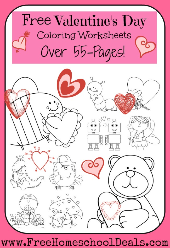 Free Valentine's Day Coloring Worksheets (55-Pages) | Free ...