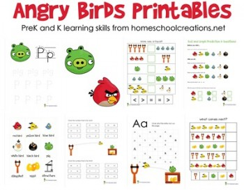 Free Angry Birds PreK and Kindergarten Printable Packs