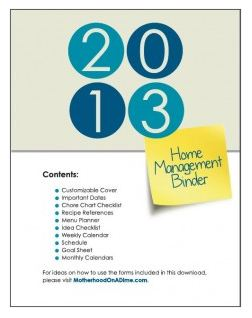 Free 2013 Home Management Binder Printables