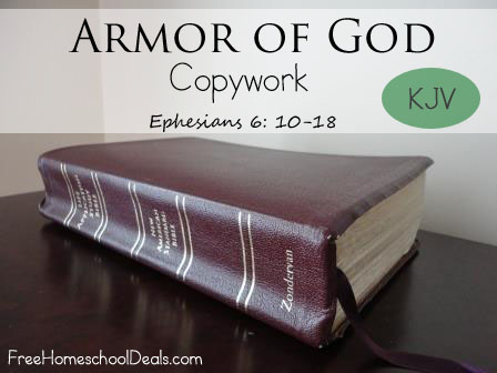 Armor of God Copywork - FreeHomeschoolDeals.com