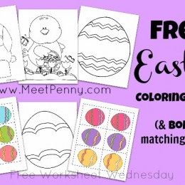 Free Worksheets: Easter Coloring Pages and Matching Game Printables