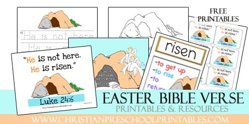 Free Preschool and Kindergarten Bible Verse Printables for Luke 24:6