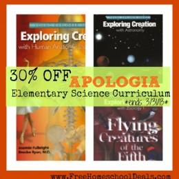 https://www.freehomeschooldeals.com/homeschool-sale-apologia-elementary-science-curriculum/