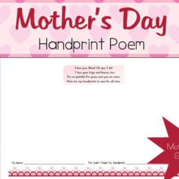 Free Mother's Day Handprint Poem from Mamas Learning Corner