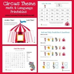Free Circus Theme Math and Language Printables