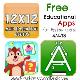 Free Educational Apps for Android Users: 123s ABCs Handwriting Fun, Word Stack, Multiplication Genius, plus more