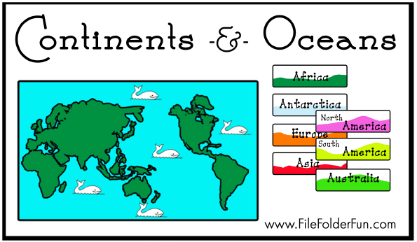photo about Printable Continents and Oceans identified as Absolutely free Continents Oceans Document Folder Match