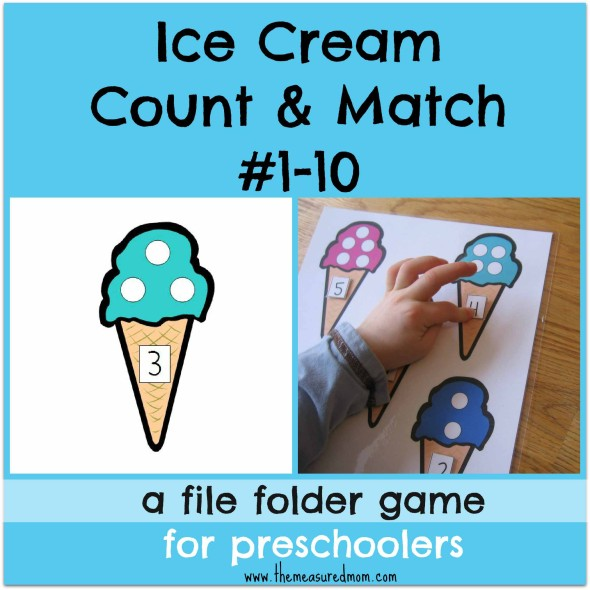Free Ice Cream Counting File Folder Game (1-10)