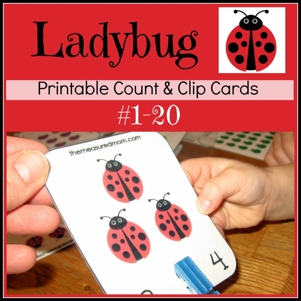 Free Ladybug Clip & Count Cards