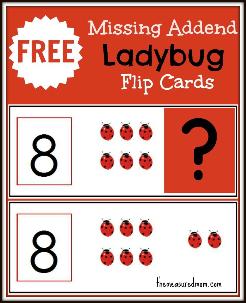 free ladybug math flip cards