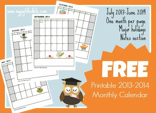 free homeschool calendars