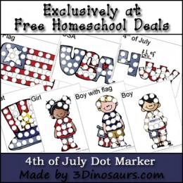 FREE 4th of July Dot Marker Printable Set