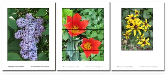 Printable Preschool Flower Puzzles