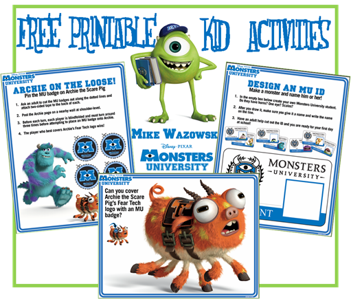 FREE  Monsters University Printable Activities
