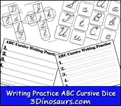 Free Writing Practice ABC Cursive Dice