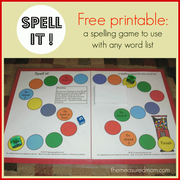 FREE: Spell It! Printable Spelling Game for any word list grade K-3